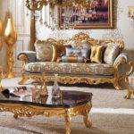 Kursi Sofa Tamu Mewah Romawi Classic Gold