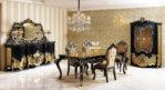 Set Meja Makan Klasik Ukir Black Waldorf