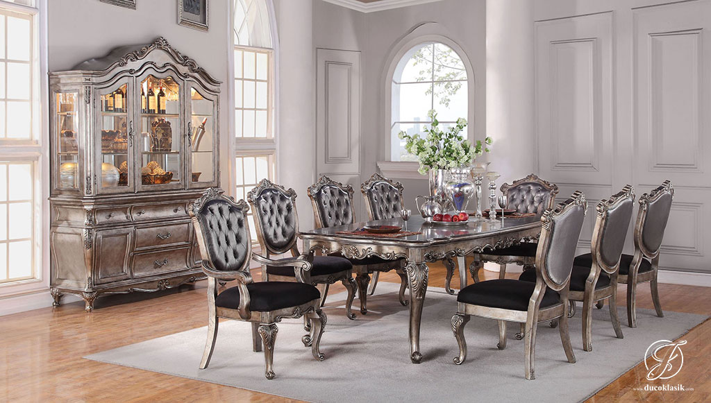 Set Meja Makan Klasik Ukir Victorian Silver
