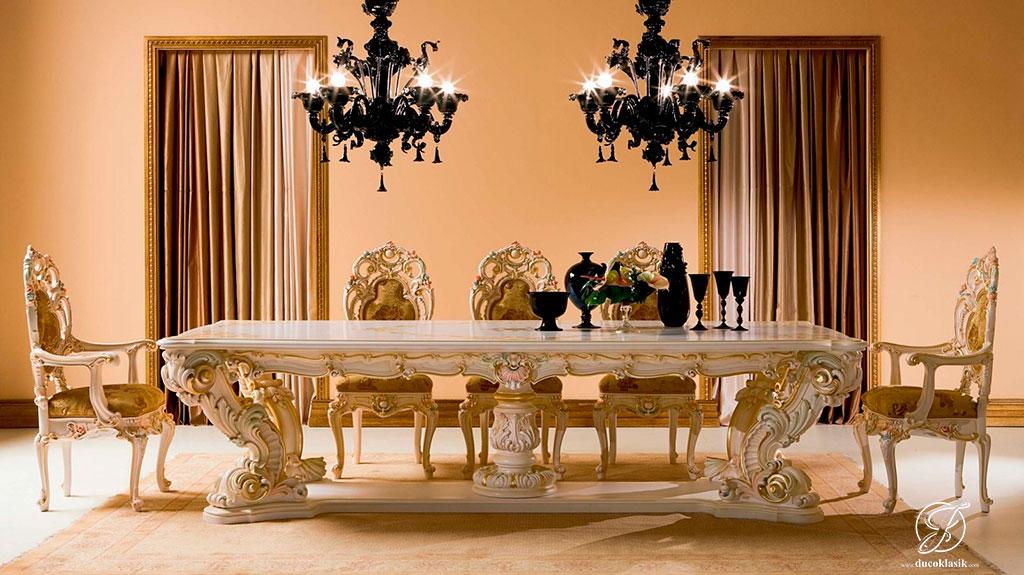 Set Meja Makan Mewah Ukir Minerva Klasik