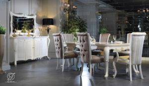 Set Meja Makan Modern Duco Ukir Paris