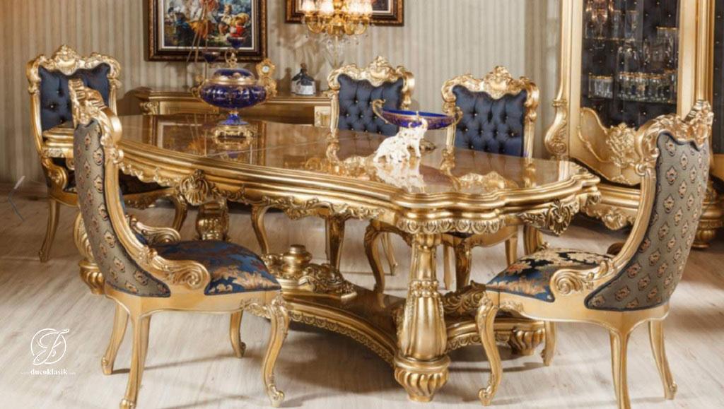 Set Meja Makan Modern Ukir Minerva Gold