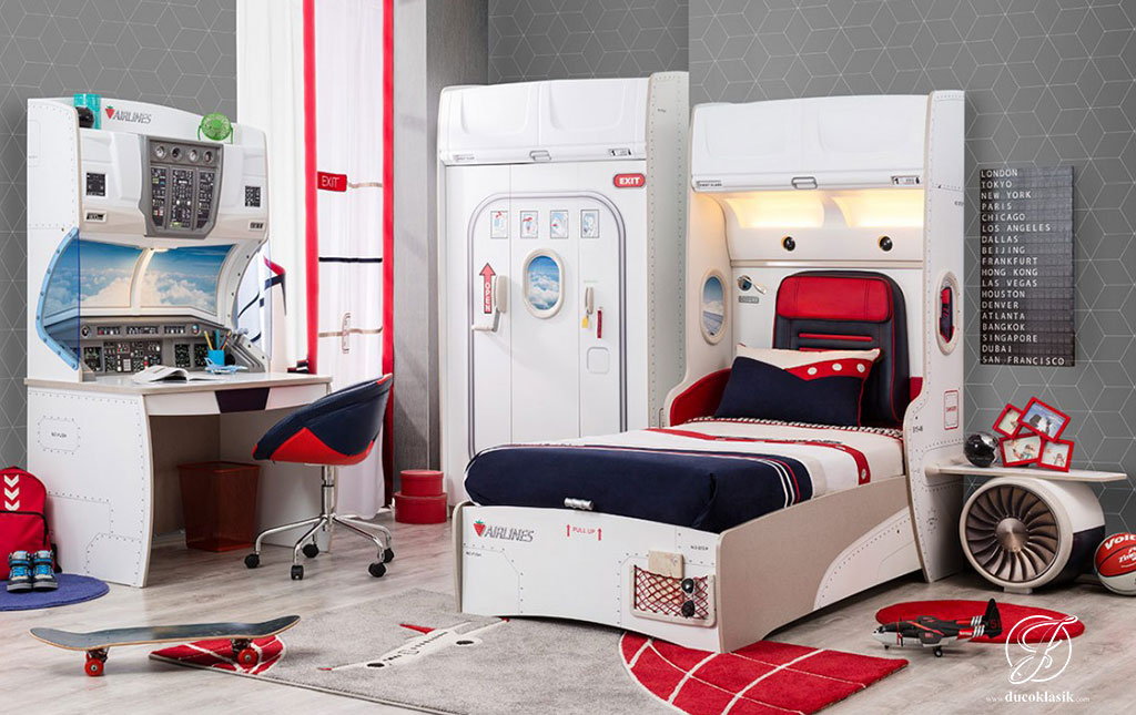 Set Kamar Tidur Anak Modern Pesawat Terbang