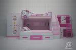 Set Tempat Tidur Anak Tingkat Minimalis Hello Kitty