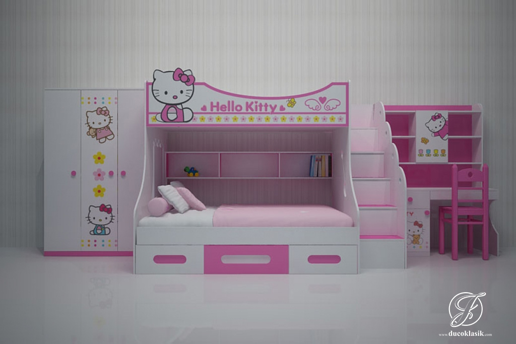 Jual Set Tempat Tidur Anak Tingkat Minimalis Hello Kitty
