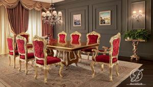 Set Meja Makan Klasik Florence Golden