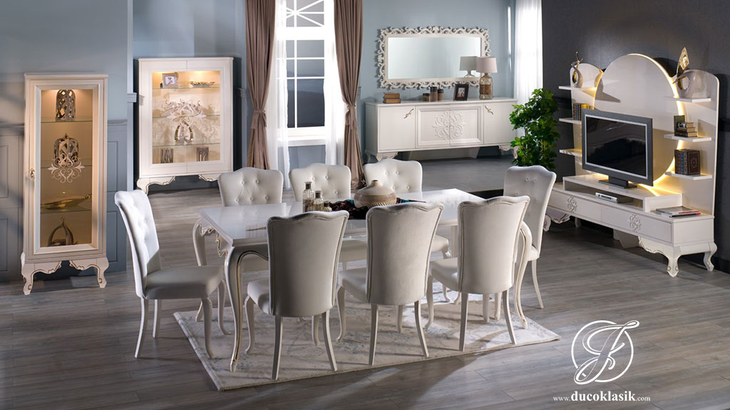 Set Meja Makan Minimalis Louis Putih