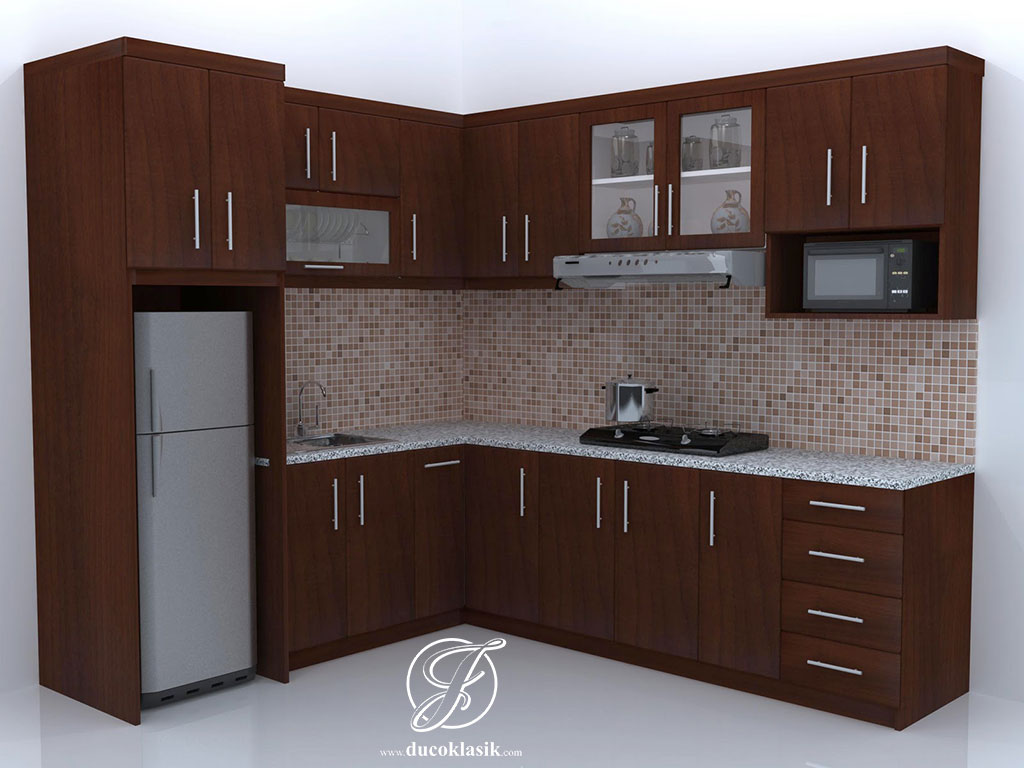 Jual kitchen set minimalis natural model l furniture for Kitchen minimalis