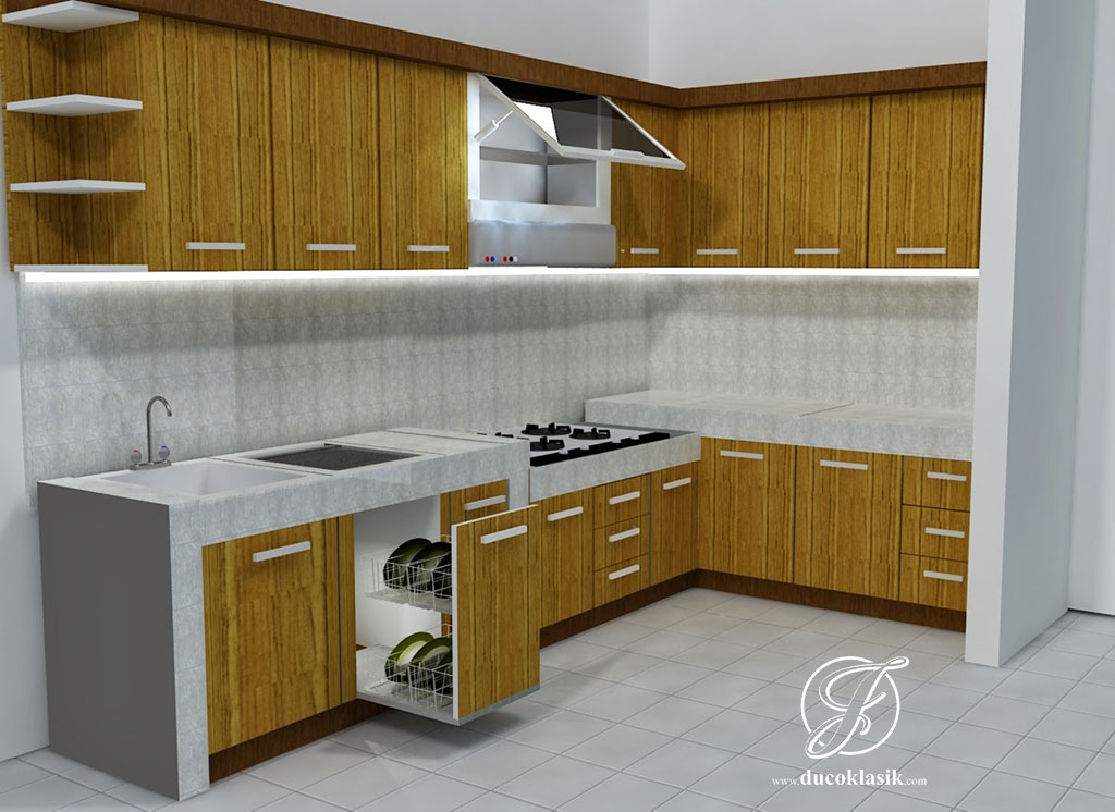 Jual Kitchen Set Simpel L Minimalis Modern Furniture Duco Klasik