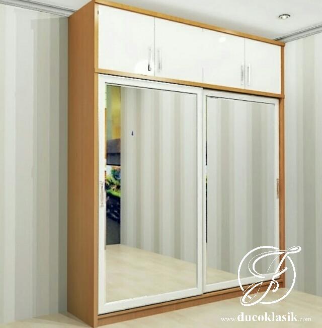 Jual Lemari Pakaian Minimalis Modern 2 Pintu Sliding Furniture Duco Klasik