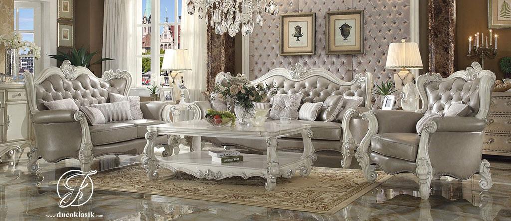 Set Kursi Sofa Tamu Ukir Duco Putih Versa