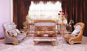 Set Kursi Sofa Tamu Ukir Vespa Emas