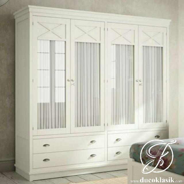 Jual Lemari Pakaian Kaca Bening 4 Pintu   Furniture Duco ...