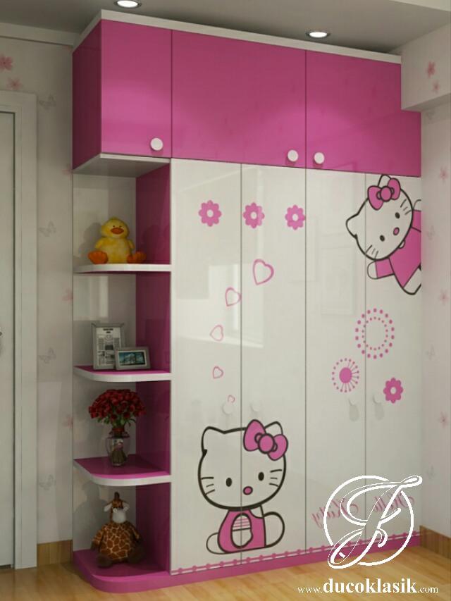 Lemari Pakaian Anak Hello Kitty Minimalis Modern