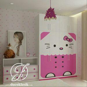 Lemari Pakaian Anak Minimalis Modern Hello Kitty