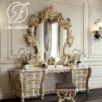 Meja Rias Ukir Klasik Eropa Duco Gold