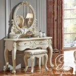 Meja Rias Ukir Korea Putih Cermin Oval
