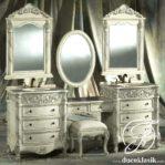 Meja Rias Ukir Racoco Triple Mirror Modern
