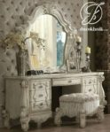 Meja Rias Ukir Royal Eropa Duco Putih