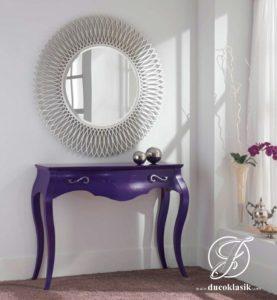 Set Meja Konsol Cermin Bundar Minimalis Modern