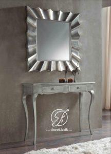 Set Meja Konsol Cermin Minimalis Duco Silver