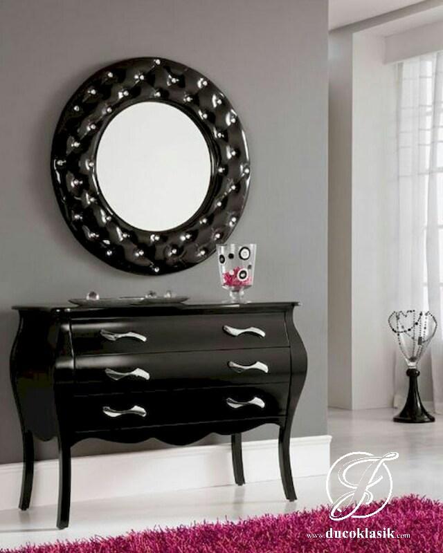 Set Meja Konsol Cermin Minimalis Racoco Black