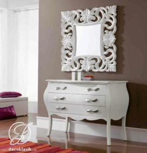 Set Meja Konsol Cermin Minimalis Racoco Putih