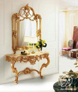 Set Meja Konsol Dinding Ukir Baroque Gold