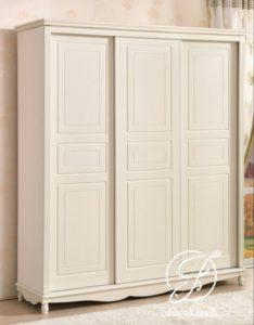 Lemari Pakaian Minimalis 3 Pintu Sliding Duco Putih