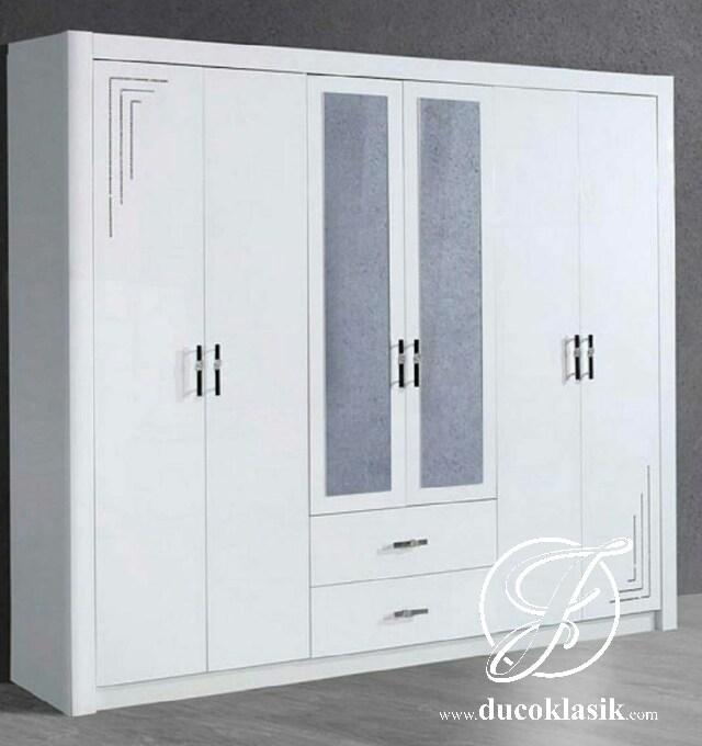 Jual Lemari Pakaian Minimalis Duco Putih 6 Pintu