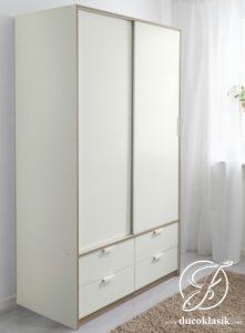 Lemari Pakaian Sliding Minimalis Putih 2 Pintu