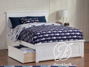 Tempat Tidur Anak Berlaci Minimalis Duco Putih