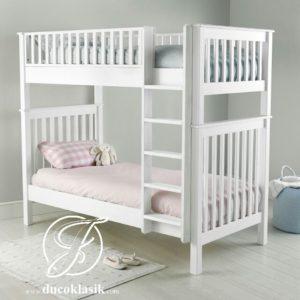 Tempat Tidur Anak Tingkat Kayu Minimalis Putih