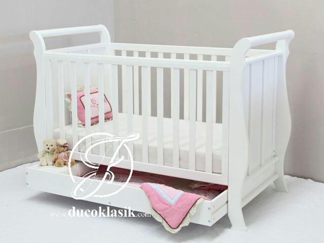 Tempat Tidur Bayi Minimalis Cat Duco Putih