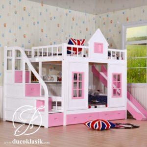 Tempat Tidur Tingkat Anak Perempuan Bentuk Rumah Minimalis
