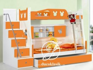 Tempat Tidur Tingkat Kayu Minimalis Anak Perempuan