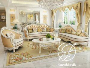 Set Ruang Tamu Klasik Sofa Mewah Ukir Louis