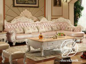 Set Ruang Tamu Mewah Sofa Sudut Louis Klasik
