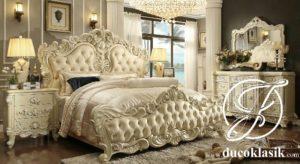 Tempat Tidur Eropa Klasik Cat Duco Putih