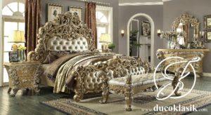 Tempat Tidur Mewah Ukir Victorian Duco Emas