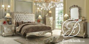 Tempat Tidur Ukir Eropa Modern Silver Mewah