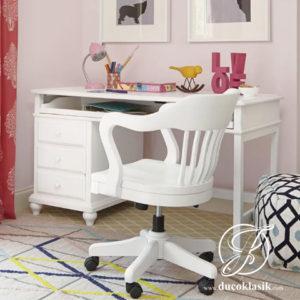 Meja Belajar Anak Perempuan Minimalis Duco Putih