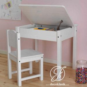 Meja Belajar Anak Lipat Minimalis Duco Putih