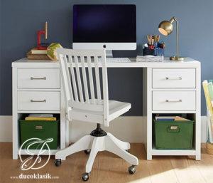 Meja Komputer Minimalis Putih Kayu Solid