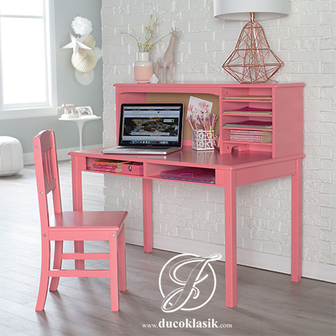 Meja Belajar Anak Perempuan Minimalis Cat Pink