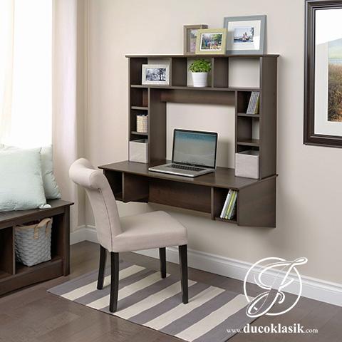 Jual Meja Komputer Minimalis Gantung Dinding Natural Kayu | Furniture Duco Klasik