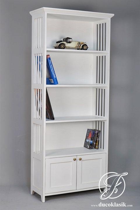 Rak Buku Keranjangan Minimalis Cat Duco Putih