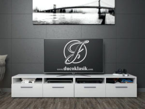 Bufet TV Minimalis Putih 4 Laci Terbaru