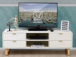 Meja TV Minimalis Modern Duco Putih 4 Laci