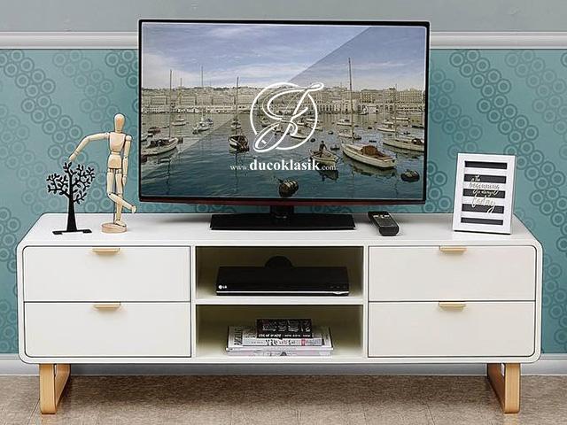 Meja TV Minimalis 2 Laci Model Retro